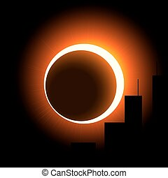 A solar eclipse over the city. The crown of the sun is visible around the moon. Orange on black.