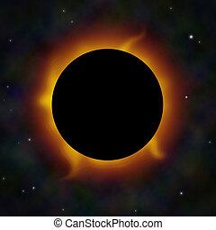 A solar eclipse with solar flares in space. Could also represent a black hole.