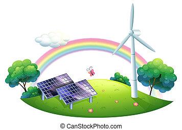 A solar energy and a windmill - Illustration of a solar...