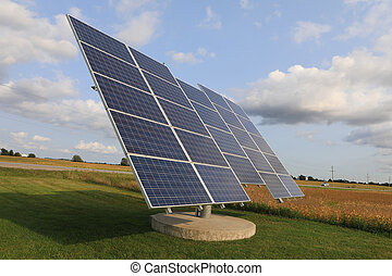 Solar panel on a bright sunny day