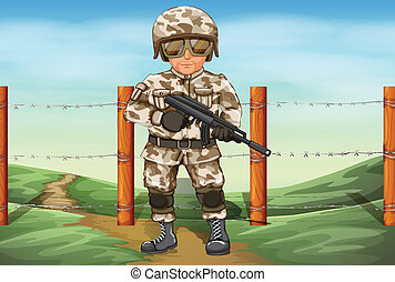 A soldier holding a gun - Illustration of a soldier holding...
