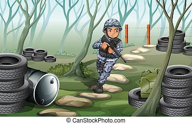 A soldier in the forest
