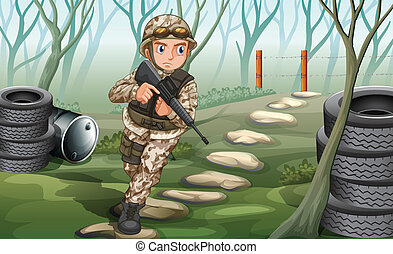 A soldier in the jungle