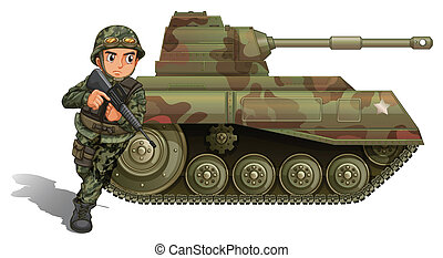 A soldier near the armour tank