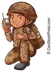 A soldier with a communication tool