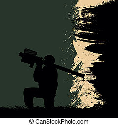 A soldier with an anti-aircraft missile system on an abstract background.