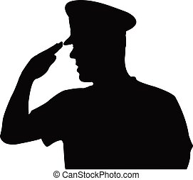 a solider saluting, head silhouette