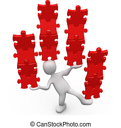 A Solution For Every Problem - 3d person balancing row of...