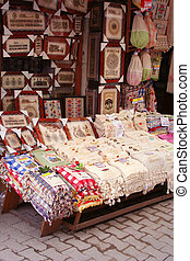 A souvenir shop displaying its products