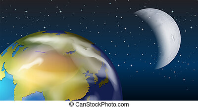 A space view of earth and moon