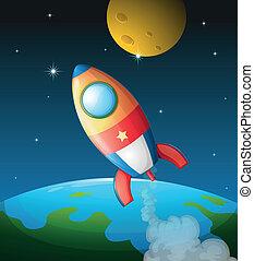 A spacecraft near the moon