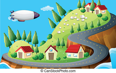 A spaceship and a village - Illustration of a spaceship and...