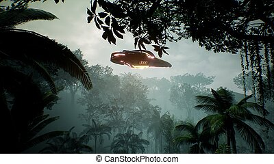 A spaceship flying over an unknown green planet. A futuristic concept of a UFO. 3D rendering.