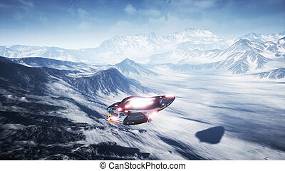 A spaceship flying over an unknown snow planet. 3D Rendering.