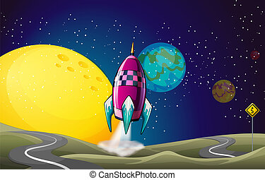 A spaceship in the outerspace near the moon