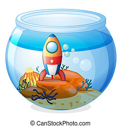 A spaceship inside the aquarium