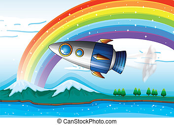 A spaceship near the rainbow above the ocean