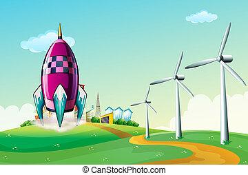 A spaceship near the windmills