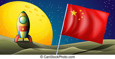 A spaceship with the flag of China in the outerspace
