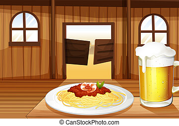 A spaghetti and a glass of beer inside the saloon bar