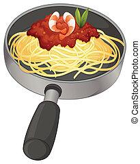 A spaghetti in a pan