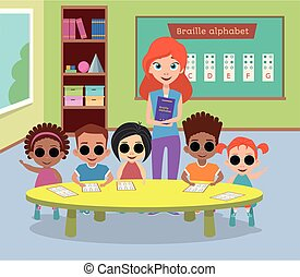 A special class of blind children with glasses.