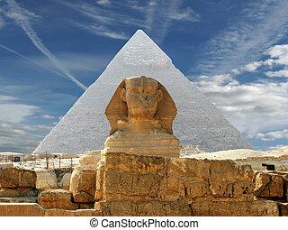 a, sphynx, e, piramide