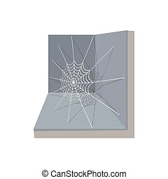 A spider and a web icon, cartoon style
