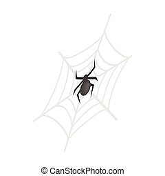 A spider and a web isometric 3d icon