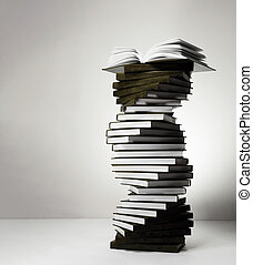 A spiral of stacks of books in the form of DNA and an open ...