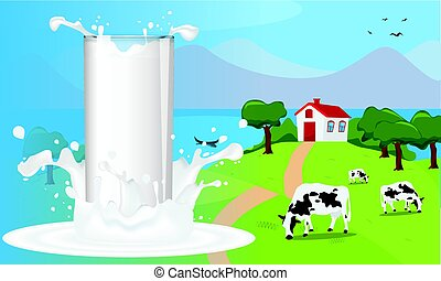 A splash of milk in a glass with country or farm landscape vector illustration.