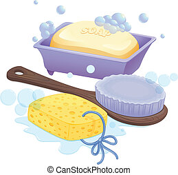 A sponge, a brush and a soap - Illustration of a sponge, a...
