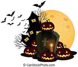 A Spooky Halloween Theme on White Background