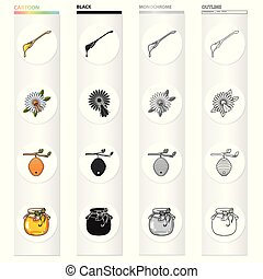 A spoon of honey, an apiary, a bee on a flower, a beehive of wild bees, a honey bank. Apiary set collection icons in cartoon black monochrome outline style vector symbol stock illustration web.