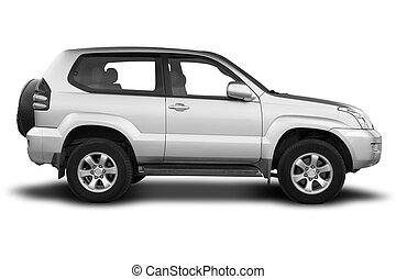 A Sport Utility Vehicle Isolated on White