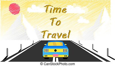 A sports car rides along an asphalt road into snowy mountains. Journey to the mountains by car, travel and inscription time to travel. Vector illustration