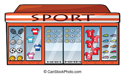 A sports shop - Illustration of a sports shop on a white...