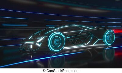 A sporty black car drives down the tunnel into a bright light. Stylized blue and white abstract lines. High quality 4k footage