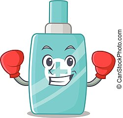 A sporty boxing athlete mascot design of ointment cream with...