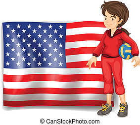 A sporty girl and the flag of the USA
