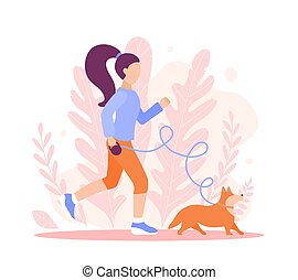 A sporty girl jogging with a Corgi dog. Vector flat style illustration for websites, banners, landing pages. A woman in sportswear is walking her pet and playing sports. Healthy lifestyle, spring marathon, running and walking.