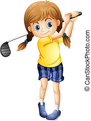 A sporty girl playing golf - Illustration of a sporty girl...