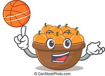 A sporty orange fruit basket cartoon mascot design playing basketball