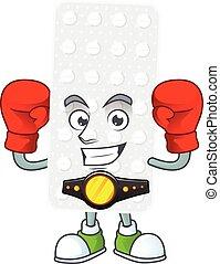 A sporty pills boxing athlete cartoon mascot design style. ...