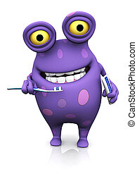 A spotted monster brushing his teeth. - A cute charming...