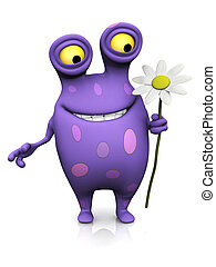 A spotted monster holding a big flower.