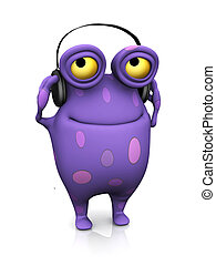 A cute charming cartoon monster listening to music in the headphones he's wearing. The monster is purple with big spots. White background.