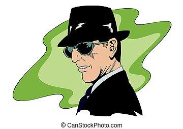 A spy in dark glasses. Stock illustration.