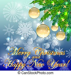 A square blue christmas background with snowflakes, coniferous branches, decorated with golden balls, stars. The inscription of Merry Christmas and a Happy New Year