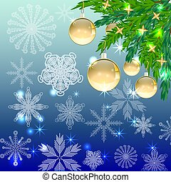 A square blue christmas background with snowflakes, coniferous branches, decorated with golden balls, stars.